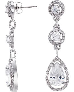 Triple Post Cz Round Earrings