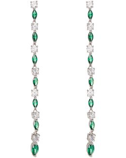 White & Green Cz Detail Dangle Earrings