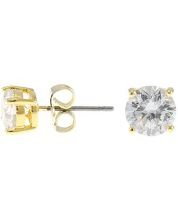 Round Cz Stud Earrings