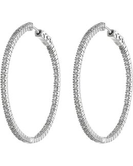Cz Accented Thin Loop Earrings