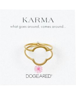 14k Gold Plated Sterling Silver Karma Half Round Rings - Set Of 2