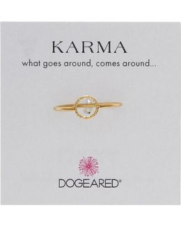 14k Gold Plated Sterling Silver Sparkle Karma Circle Ring