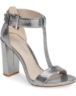 Daisy Snake Embossed T-strap Sandal