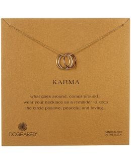 14k Yellow & Rose Gold Plated Sterling Silver Karma Pendant Necklace