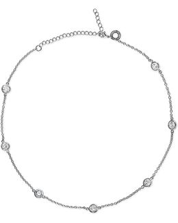 Round Cz Short Station Necklace - 16""