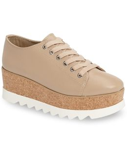 Korrie Leather Cork Platform Lace-up Sneakers