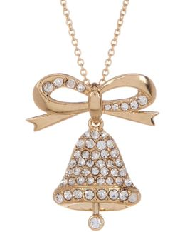 Pave Cz Embellished Bell Charm Necklace