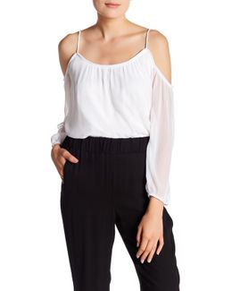 Cold-shoulder Chiffon Blouse
