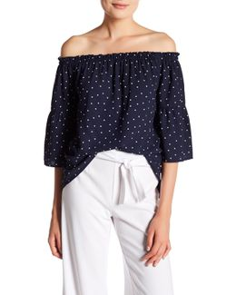 Polka Dot Off-the-shoulder Blouse