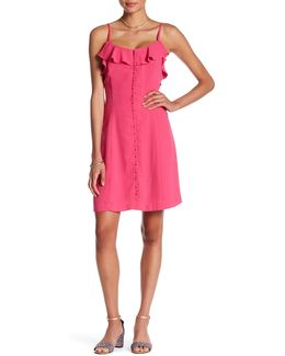 Ruffled Crepe A-lined Dress