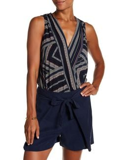 Geo Stripe Plunging Surplice Bodysuit