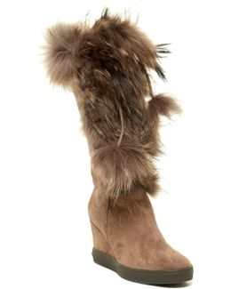 Colette Genuine Racoon & Shearling Wedge Boot