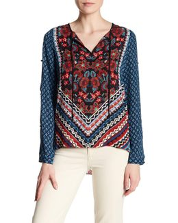 Printed Long Sleeve Tie Front Blouse