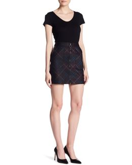 Contrast Faux Leather Printed Plaid Ponte Zip Skirt
