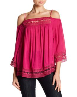 Lace Trim Gauze Blouse
