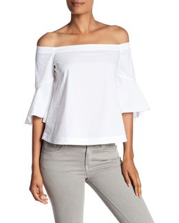 Off-the-shoulder Poplin Blouse