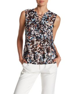 Floral-print Lace-up Chiffon Top
