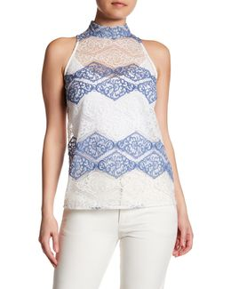 Stripe Lace Mock Neck Tank