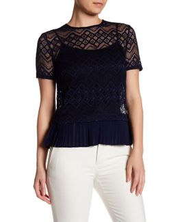 Short Sleeve Lace Pleated Hem Blouse