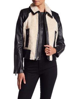 Lamb Leather & Faux Fur Short Jacket