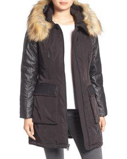 Mixed Media Removable Faux Fur Hood Coat