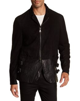 Garment Washed Suede & Leather Jacket