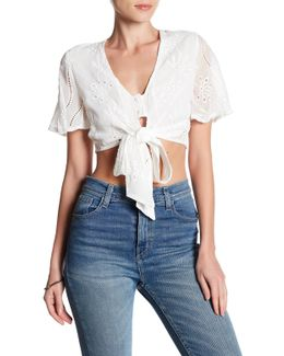Embroidered Tie Front Crop Shirt