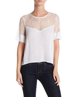 Elbow Length Sleeve Sheer Lace Yoke Blouse