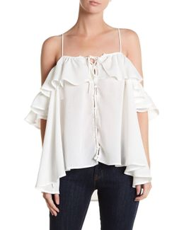 Lace-up Cold Shoulder Blouse