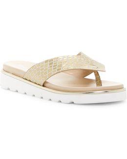 Leea Croc Embossed Leather Sandal