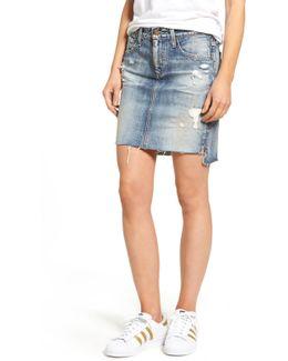 The Erin Raw Step Hem Denim Skirt