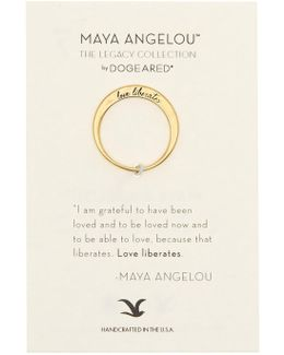 14k Gold Plated Sterling Silver Love Liberates Ring - Size 5