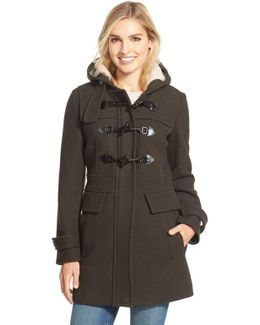 Wool Blend Duffle Coat With Faux Shearling Lined Hood