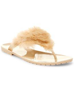 Liza Faux Fur Thong Sandal