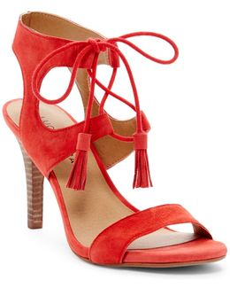 Uzelia Suede Lace-up Tassel Dress Sandals