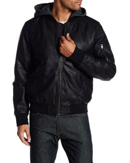 Faux Leather Hooded Jacket