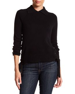 Lace Up Side Cropped Cashmere Sweater