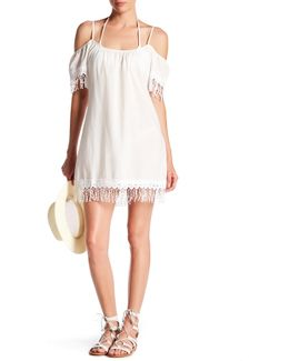 Fringed Cold Shoulder Dress