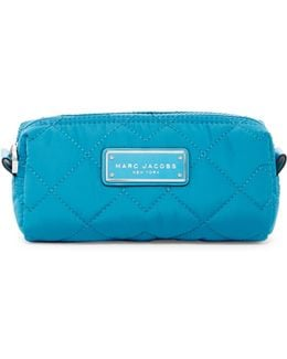 Quilted Nylon Narrow Cosmetic Case