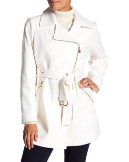 Asymmetrical Wool-blend Coat