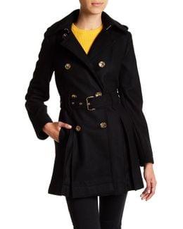 Fit & Flare Wool-blend Military Coat (petite)