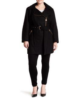 Asymmetrical Wool-blend Coat (plus Size)