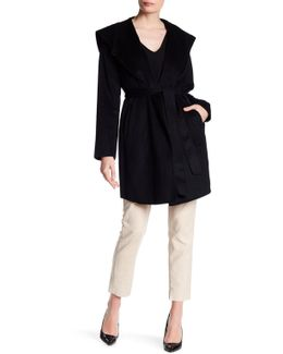 Belted Wool-blend Wrap Coat