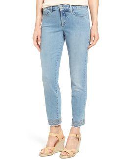 Clarissa Embroidered Hem Stretch Ankle Skinny Jean