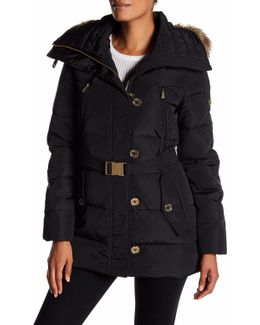 Faux Fur Belted Puffer Jacket