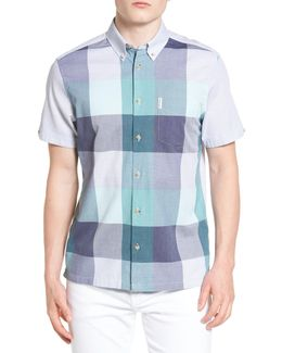 Modern Fit Plaid Front Woven Shirt