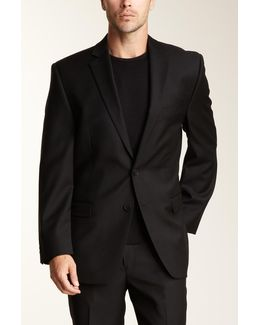 Slim Fit Black Solid Two Button Jacket