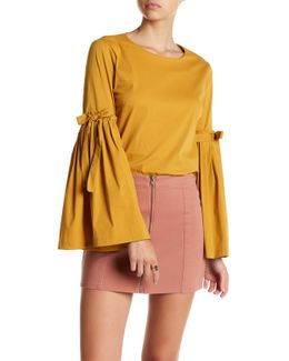 Bell Sleeve Tie Solid Blouse