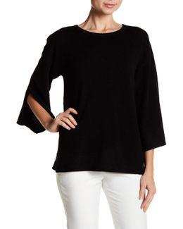 Split Bell Sleeve Cashmere Sweater