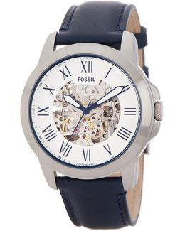 Men's Grant Skeleton Dial Leather Strap Watch
